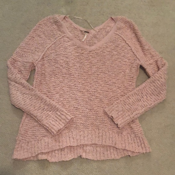 Free People Sweaters - Free people light pink slightly  v neck sweater
